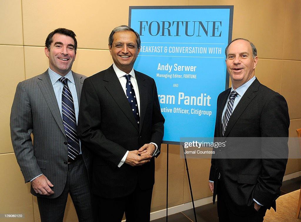Group Publisher, Fortune Money Group Jed Hartman, CEO of Citigroup <a gi-track='captionPersonalityLinkClicked' href=/galleries/search?phrase=Vikram+Pandit&family=editorial&specificpeople=5610048 ng-click='$event.stopPropagation()'>Vikram Pandit</a> and Fortune Magazine Managing Editor Andrew Serwer pose for a photo at the FORTUNE Breakfast & Conversation with <a gi-track='captionPersonalityLinkClicked' href=/galleries/search?phrase=Vikram+Pandit&family=editorial&specificpeople=5610048 ng-click='$event.stopPropagation()'>Vikram Pandit</a>, CEO, Citigroup at TIME Building on October 12, 2011 in New York City.