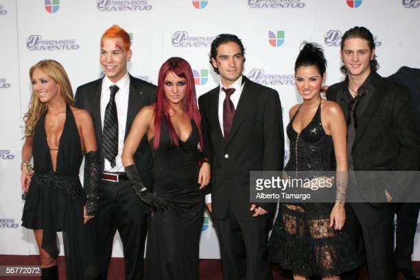 Group RBD arrives at the 2nd Annual Premios Juventud Awards at the University of Miami Convocation Center September 22 2005 in Miami Florida