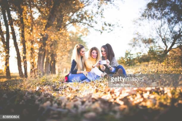 Group selfie in nature