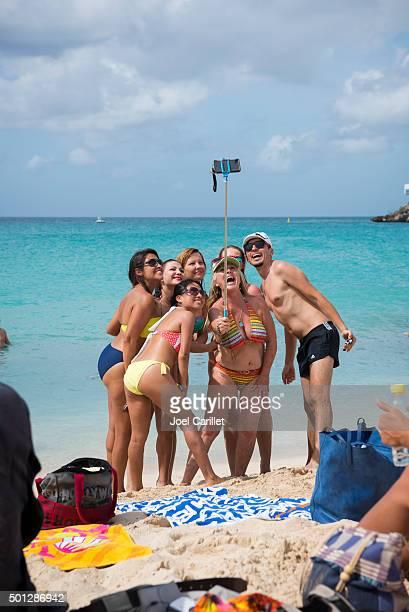 Group selfie with selfie stick on St. Maarten