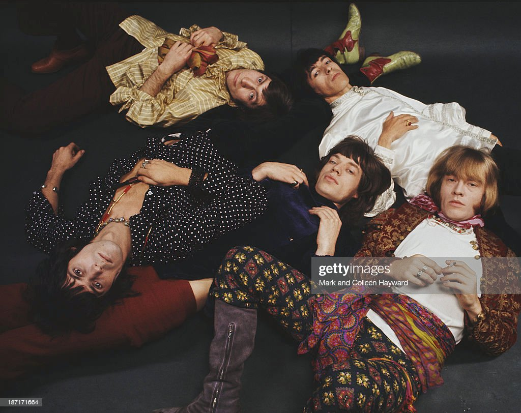 Group shot of English rock and roll band The Rolling Stones posed in 1968 Clockwise from top left Charlie Watts Bill Wyman Brian Jones Mick jagger...