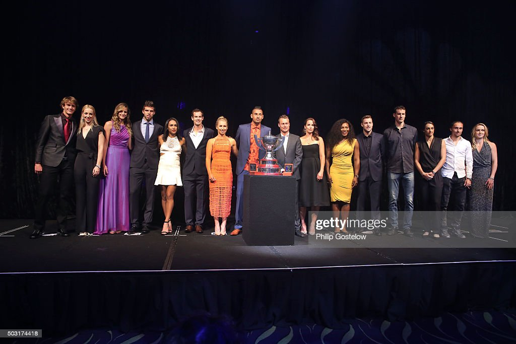Group shot of Hopman Cup teams (L-R) Germany represented by Alexander Zverev & Sabine Lisicki, Czech Republic represented by Karolina Pliskova & Jiri Vesely, Great Britain represented by Heather Watson & Andy Murray, Australia Green represented by Daria Gavrilova & Nick Kyrgios, Australia Gold represented by Leyton Hewitt & Jarmila Gajdosova , USA represented by Serena Williams & Jack Sock, France represented by Kenny De Schepper & Caroline Garcia, Ukraine represented by Alexandr Golgopolov & Elina Svitolina at the 2016 Hopman Cup Player Party at Perth Crown on January 2, 2016 in Perth, Australia.