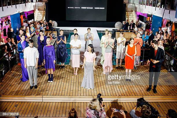 Group shot of models and the designers Michael Sontag Tutia Schaad and Vladimir Karaleev at the Fashion2Night event at EUROPA 2 on August 23 2016 in...