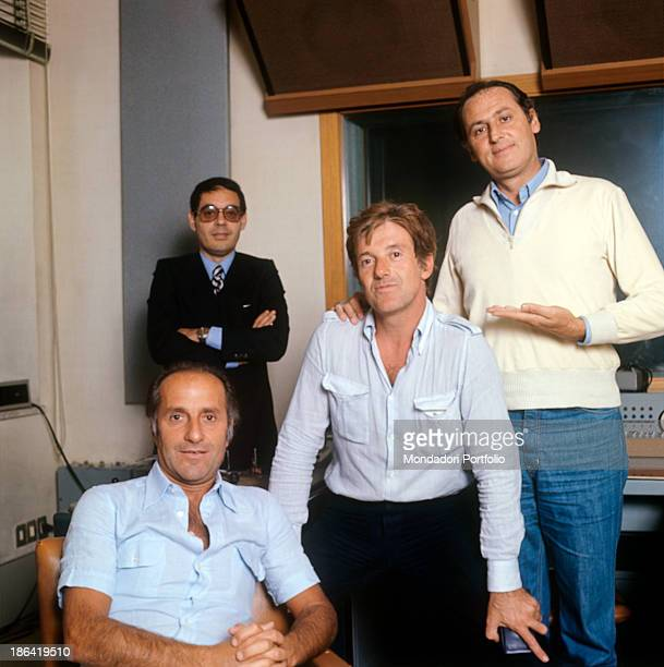 Group shot of the cast of the radio broadcast Alto Gradimento fron the left the comedian Giorgio Bracardi the presenter Gianni Boncompagni the actor...
