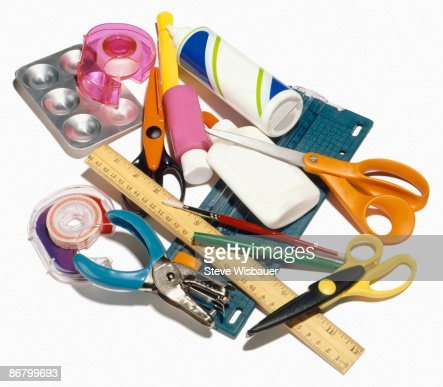 Group shot of various craft supplies for projects  : Stock Photo