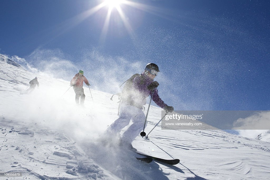 Group ski off-piste, Le Fornet, Val d'Isere : Stock Photo