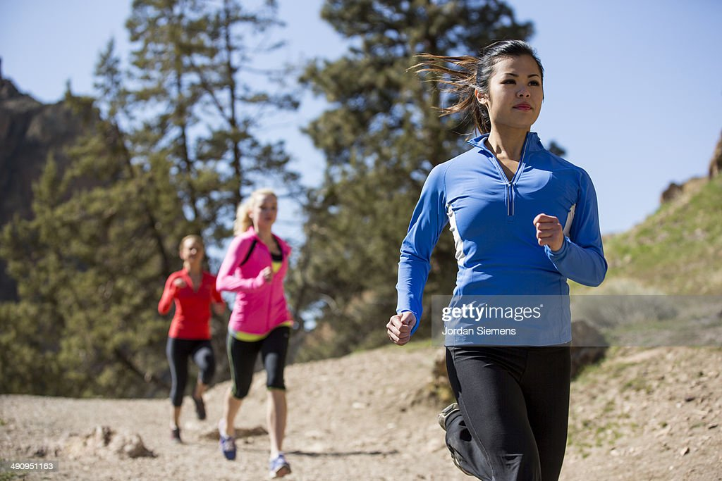 Group trail running. : Stock Photo