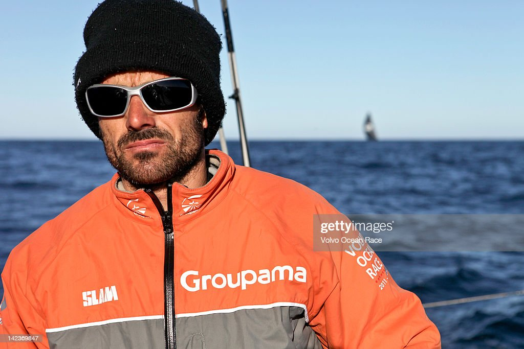 Groupama Sailing Team skipper <a gi-track='captionPersonalityLinkClicked' href=/galleries/search?phrase=Franck+Cammas&family=editorial&specificpeople=773410 ng-click='$event.stopPropagation()'>Franck Cammas</a> from France, focusing on staying in first place, as PUMA Ocean Racing powered by BERG trail closely behind, during leg 5 of the Volvo Ocean Race 2011-12, on April 2, 2012 from Auckland, New Zealand to Itajai, Brazil.