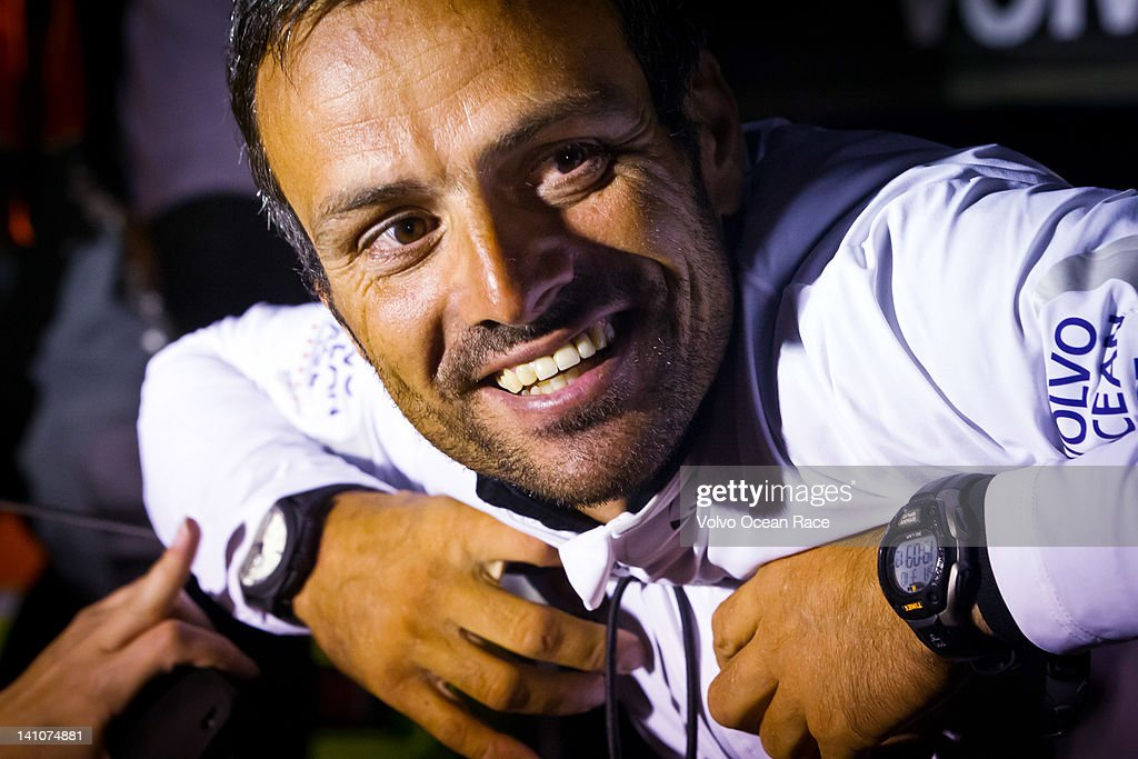 Groupama Sailing Team, skipper <a gi-track='captionPersonalityLinkClicked' href=/galleries/search?phrase=Franck+Cammas&family=editorial&specificpeople=773410 ng-click='$event.stopPropagation()'>Franck Cammas</a> from France is interviewed on the dock after finishing first in to Auckland, on leg 4 from Sanya, China to Auckland, New Zealand, during the Volvo Ocean Race 2011-12 on March 10, 2012 in Auckland, New Zealand..