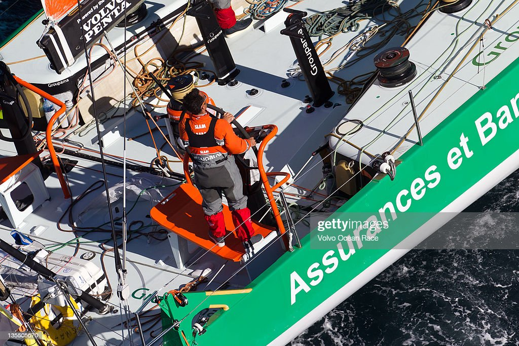 Groupama Sailing Team, skippered by <a gi-track='captionPersonalityLinkClicked' href=/galleries/search?phrase=Franck+Cammas&family=editorial&specificpeople=773410 ng-click='$event.stopPropagation()'>Franck Cammas</a> from France at the start of leg 2 of the Volvo Ocean Race 2011 - 2012 from Cape Town to Abu Dhabi on December 11, 2011 in Cape Town, South Africa.
