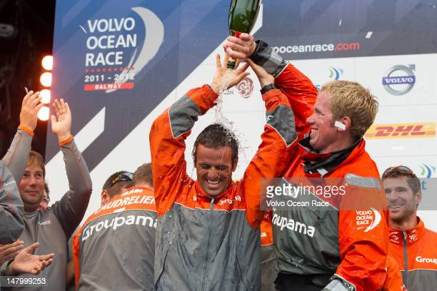 Groupama Sailing Team skippered by Franck Cammas from France first place overall in the Volvo Ocean Race 201112 at the final public prize...
