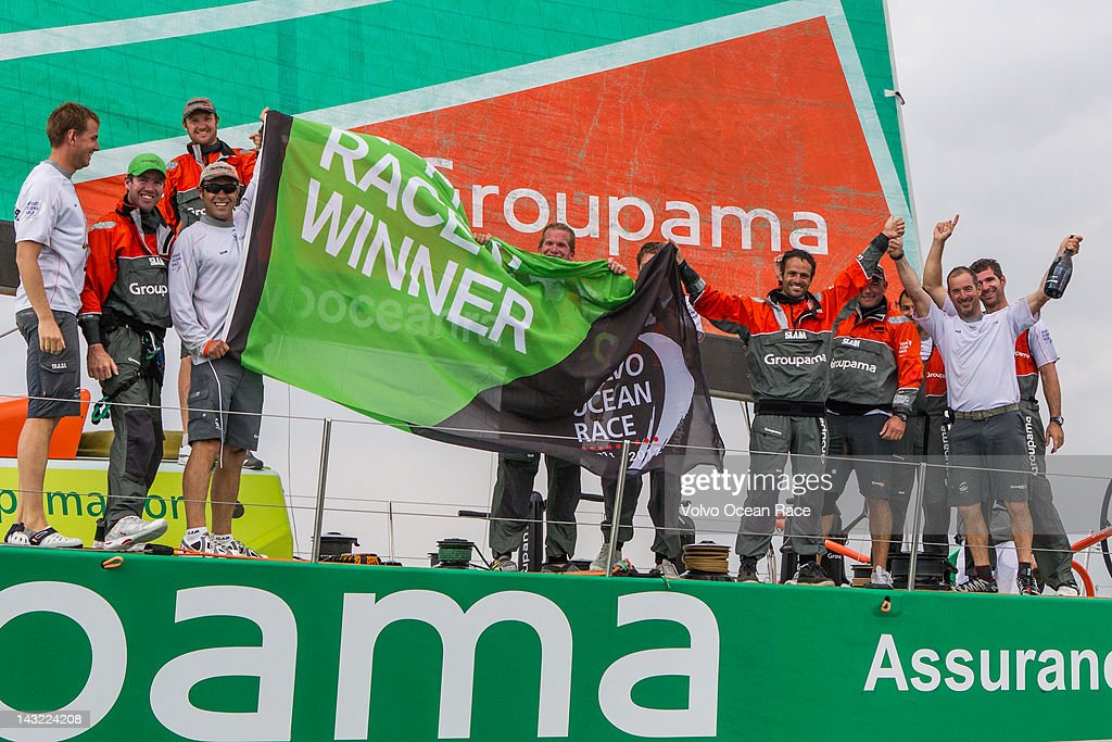 Groupama Sailing Team, skippered by Franck Cammas from France celebrate winning the DHL In-Port Race in the Volvo Ocean Race 2011-12 on April 21, 2012 in Itajai, Brazil.