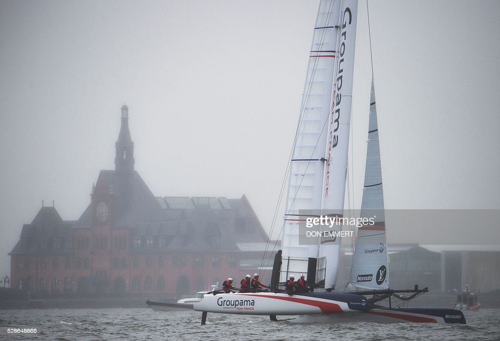 Groupama Team France sails during practice for the Louis Vuitton America's Cup World Series New York May 6, 2016 in New York. / AFP / DON