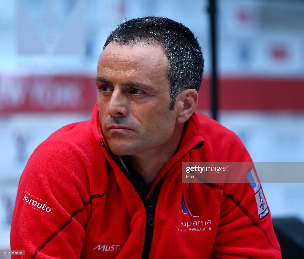 Groupama Team France skipper <a gi-track='captionPersonalityLinkClicked' href=/galleries/search?phrase=Franck+Cammas&family=editorial&specificpeople=773410 ng-click='$event.stopPropagation()'>Franck Cammas</a> looks on during the Louis Vuitton America's Cup World Series Racing Skipper press conference at the Brookfield Place on May 05, 2016 in New York City.