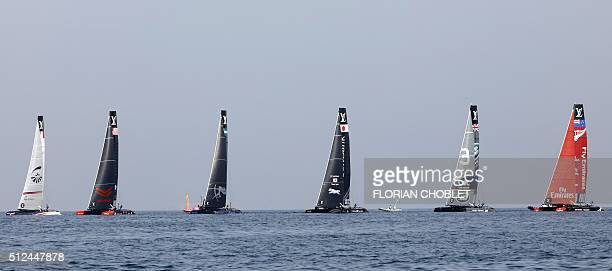 Groupama Team France skippered by Adam Minoprio Oracle Team USA skippered by Jimmy Spithill Aretmis Racing skippered by Nathan Outteridge Softbank...
