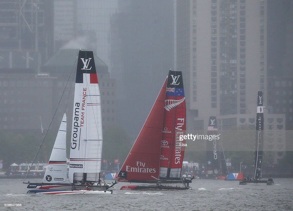 Groupama Team France,Emirates Team New Zealand,Oracle Team USA and SoftBank Team Japan sail the course during the practice session for the Louis Vuitton America's Cup World Series on May 06, 2016 in New York City.