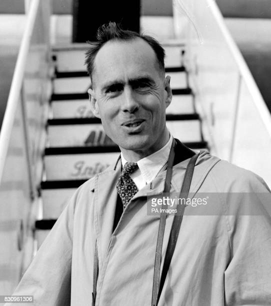 GroupCaptain Leonard Cheshire VC triple DSO and DFC pictured as he boarded an Air India liner at London Airport He is going to launch his new home...