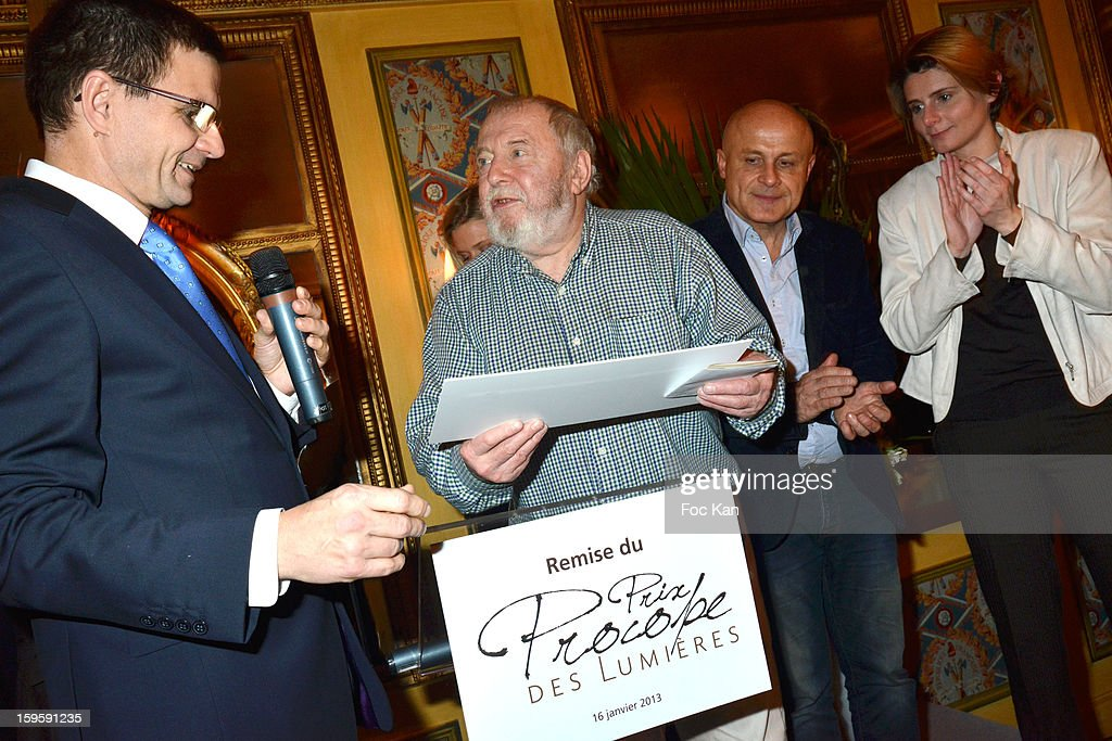 Groupe des Freres Blanc' Representative, 'Procope des Lumieres 2013' recipient writer Clement Rosset, Olivier Poivre d'ArvorÊand Caroline Fourest attend the 'Procope Des Lumieres 2013 ' Literary Awards Ceremony at Le Procope on January 16, 2013 in Paris, France.
