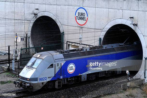 A Groupe Eurotunnel SA train exits the Channel Tunnel operated by Groupe Eurotunnel SA in Calais France on Monday Aug 16 2010 Groupe Eurotunnel SA...