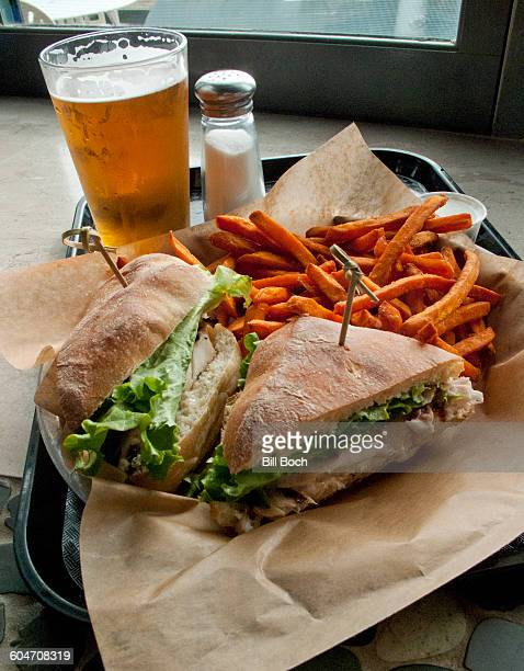Grouper sandwich-sweet potato fries