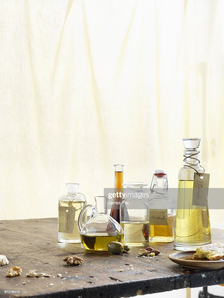 Grouping of Oils in different glass bottles : Stock Photo