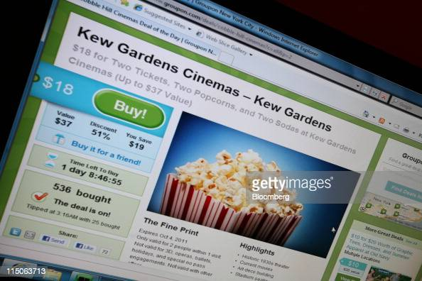 Groupon Inc's homepage is displayed on a monitor in New York US on Thursday June 2 2011 Groupon Inc the largest provider of online coupons filed to...