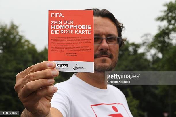 """Groups call on FIFA to publicly condemn homophobia on """"Day Against Discrimination"""" prior to the FIFA Women's World Cup Semi Final match between Japan..."""
