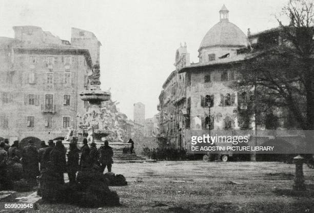 Groups of Austrian prisoners in the square of the Cathedral of Trento Italy World War I from l'Illustrazione Italiana Year XLV No 46 November 17 1918