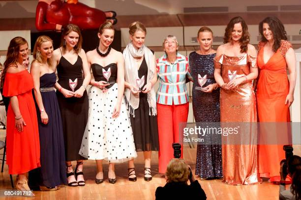 Groupshoot of all award winners with Heidi hetzer and Sonja Fusati during the Victress Awards Gala on May 8 2017 in Berlin Germany
