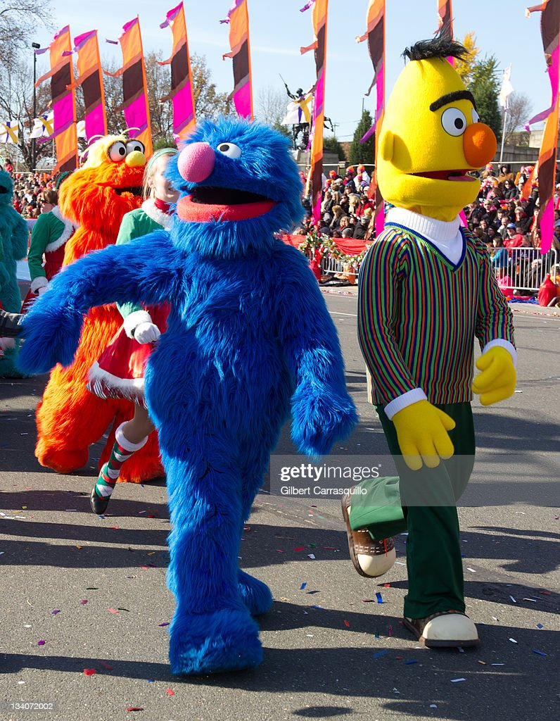 Grover and Bert from 'Sesame Street' attend the 92nd Annual 6ABC Dunkin' Donuts Thanksgiving Day Parade on November 24 2011 in Philadelphia...