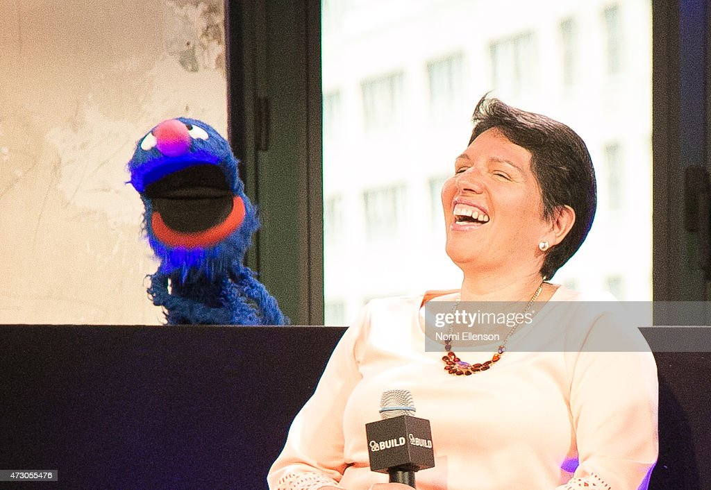 Grover and Dr. Jeanette Betancourt attend AOL Build Speaker Series: Sesame Street's Grover And The USO - Dr. Jeanette Betancourt And Rachel Tischlerat AOL Studios In New York on May 12, 2015 in New York City.