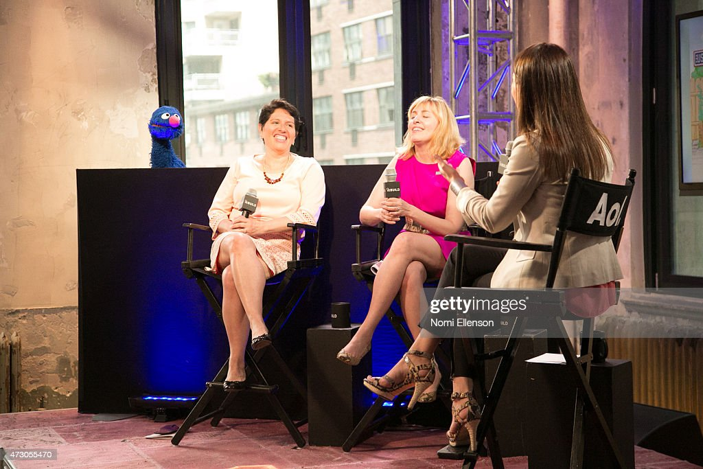 Grover, Dr. Jeanette Betancourt, Rachel Tischlerat, and Dr. Karen Latimer attend AOL Build Speaker Series: Sesame Street's Grover And The USO - Dr. Jeanette Betancourt And Rachel Tischlerat AOL Studios In New York on May 12, 2015 in New York City.