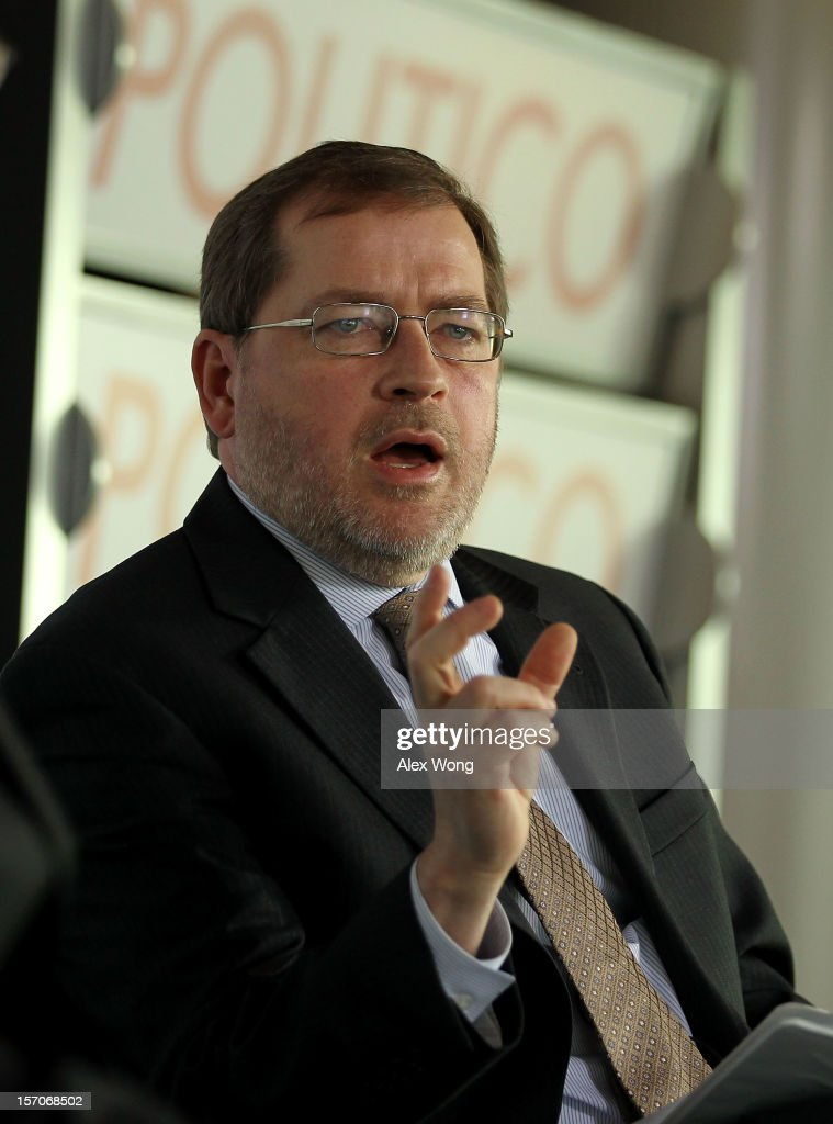 <a gi-track='captionPersonalityLinkClicked' href=/galleries/search?phrase=Grover+Norquist&family=editorial&specificpeople=779501 ng-click='$event.stopPropagation()'>Grover Norquist</a>, president of Americans for Tax Reform, speaks during a Politico Playbook Breakfast November 28, 2012 at the Newseum in Washington, DC. Norquist is known for advocating the 'Taxpayer Protection Pledge,' which 95 percent of Republicans in Congress signed, promising to oppose all tax increases, but some prominent legislators are now publicly wavering on their commitment to it.