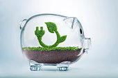 Grass growing in the shape of a plug and a leaf, inside a transparent piggy bank, symbolising the need to invest in the protection of the environment and to reconnect with nature.
