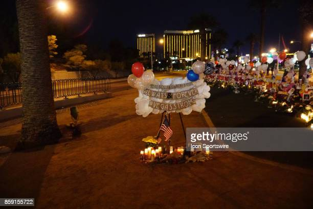 A growing memorial at the Welcome to Las Vegas Sign for victims of the recent Las Vegas mass shooting on October 8 in Vas Vegas NV The mass shooting...