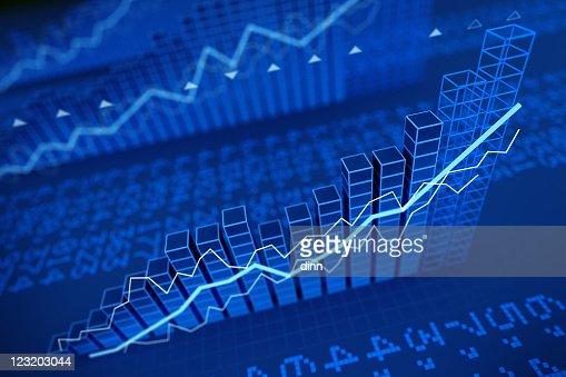 Growing stock values diagrams - 3d render