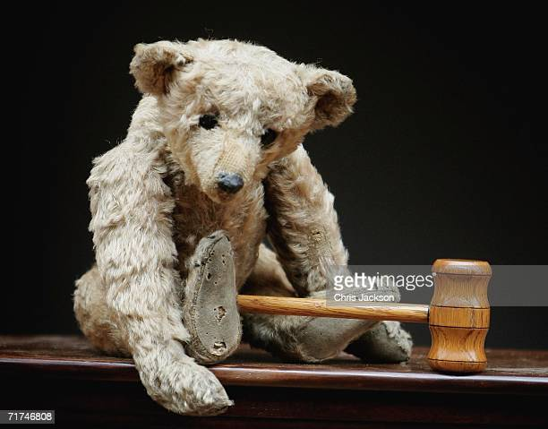 Growler a Steiff Bear circa 1904 is seen with a gavel on August 30 2006 in London England Growler is part of the collection from the world's oldest...
