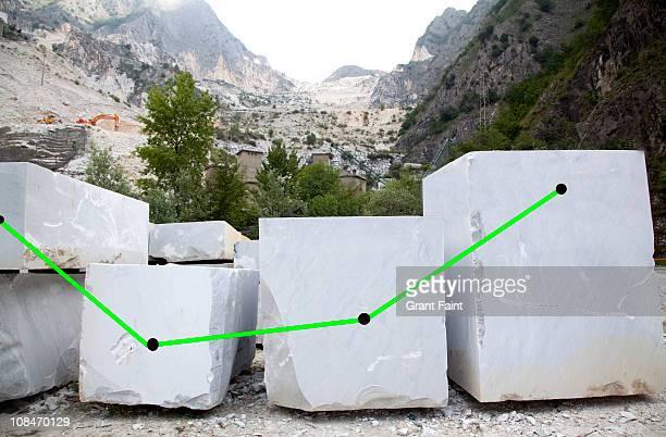 Growth chart on marble blocks.