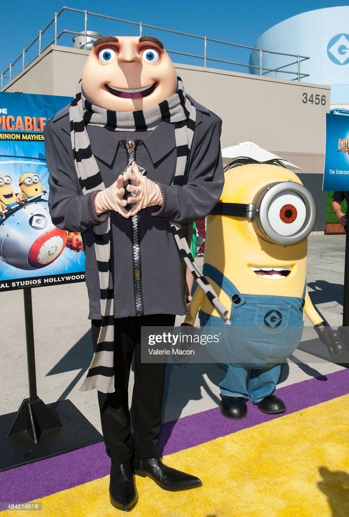 Gru and his Minion attends Universal Studios Hollywood Celebrates The Premiere Of New 3D Ultra HD digital Animation Adventure 'Despicable Me Minion Mayhem' at Universal Studios Hollywood on April 11, 2014 in Universal City, California.
