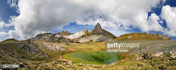 Gruba Plateau with Rosskopf Mountain and a small lake in the Rofan Mountains, Achensee, Tyrol, Austria, Europe