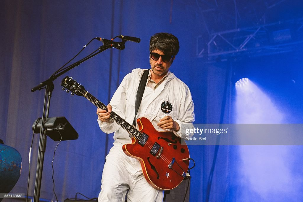 Gruff Rhys of Super Furry Animals performs during the Caught By The River Thames festival at Fulham Palace on August 7 2016 in London England