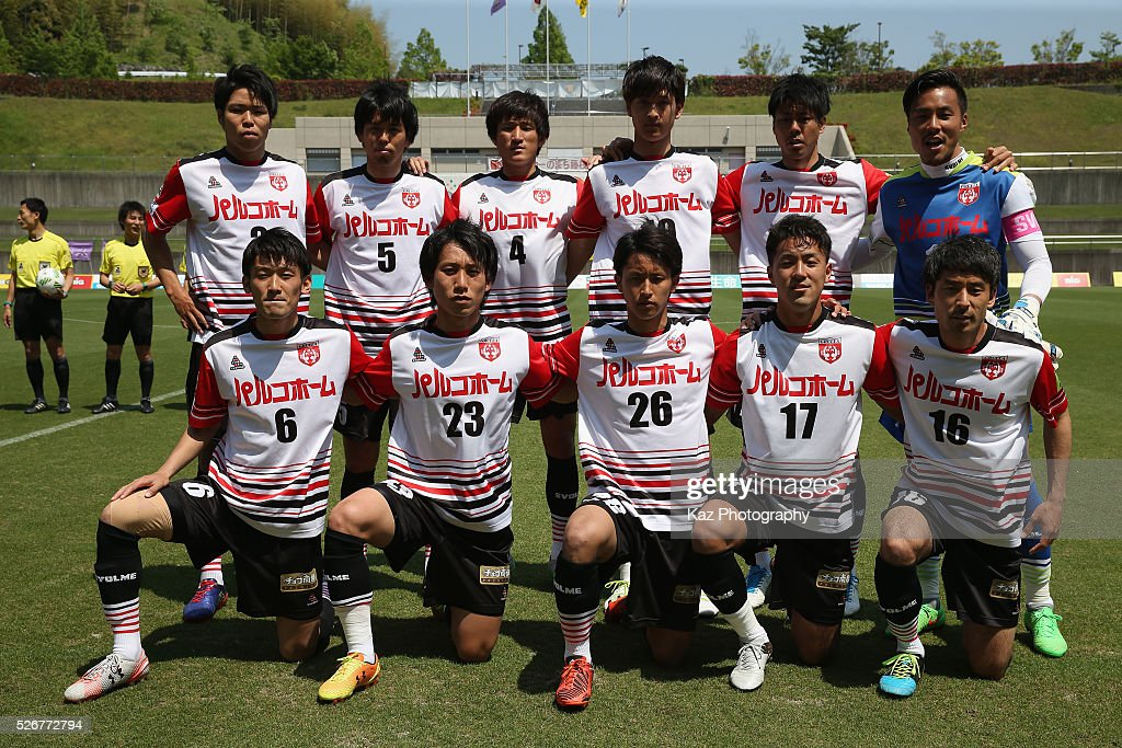 Grulla Morioka players line up for the team photos prior to the J.League third division match between Fujieda MYFC and Grulla Morioka at the Fujieda Stadium on May 1, 2016 in Fujieda, Shizuoka, Japan.