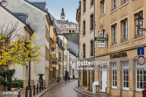 Grund houses in the old town of luxembourg city stock for Luxembourg homes