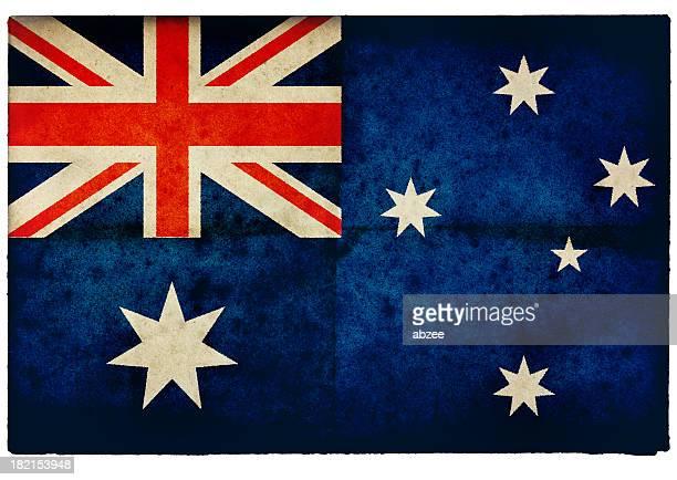 Grunge Australian Flag on rough edged old postcard