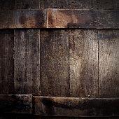 Old dark beer barrel