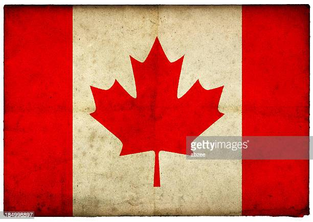 Grunge Canadian Flag on rough edged old postcard