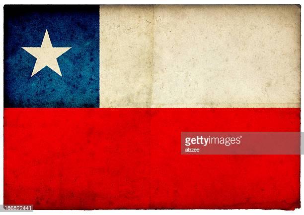 Grunge Chilean Flag on rough edged old postcard