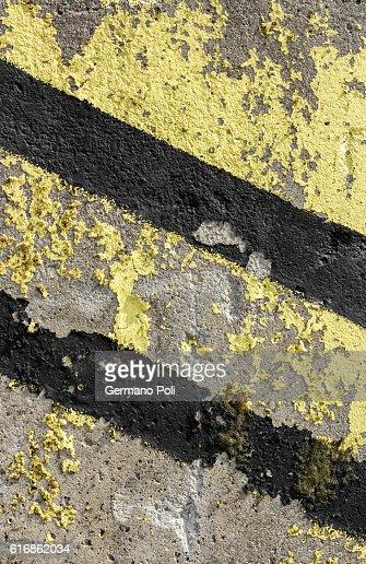 Grunge diagonal warning stripe : Stock Photo