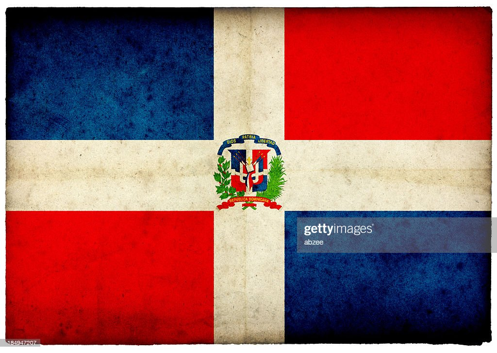 Grunge Dominican Republic Flag on rough edged old postcard
