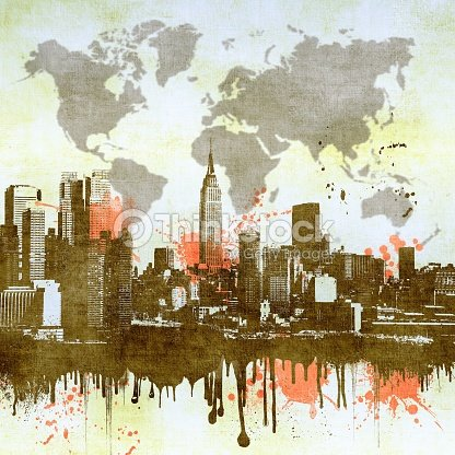 Grunge Dripping Nyc Skyline With Symbolic World Map In The Sky Basic ...